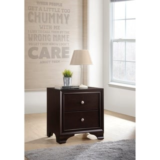 ACME Blaise Nightstand in Espresso with 2 Drawers and USB Port