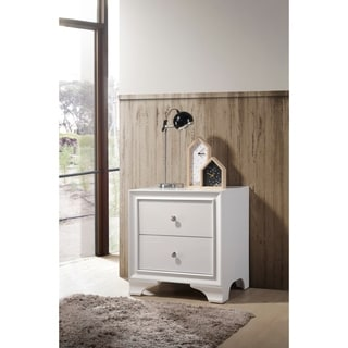 ACME Blaise Nightstand in White with 2 Drawers and USB Port