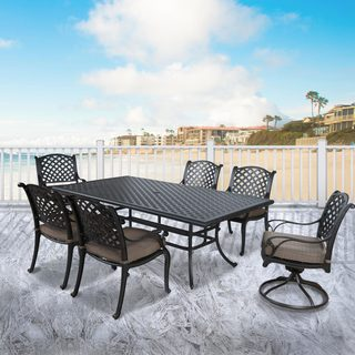 Gracewood Hollow Brovina Aluminum 7-piece Cushioned Dining Set with 46-inch x 86-inch Table
