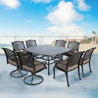 Yorkshire Gunmetal Aluminum/Olefin 64-inch 9-piece Cushioned Square Table Dining Set