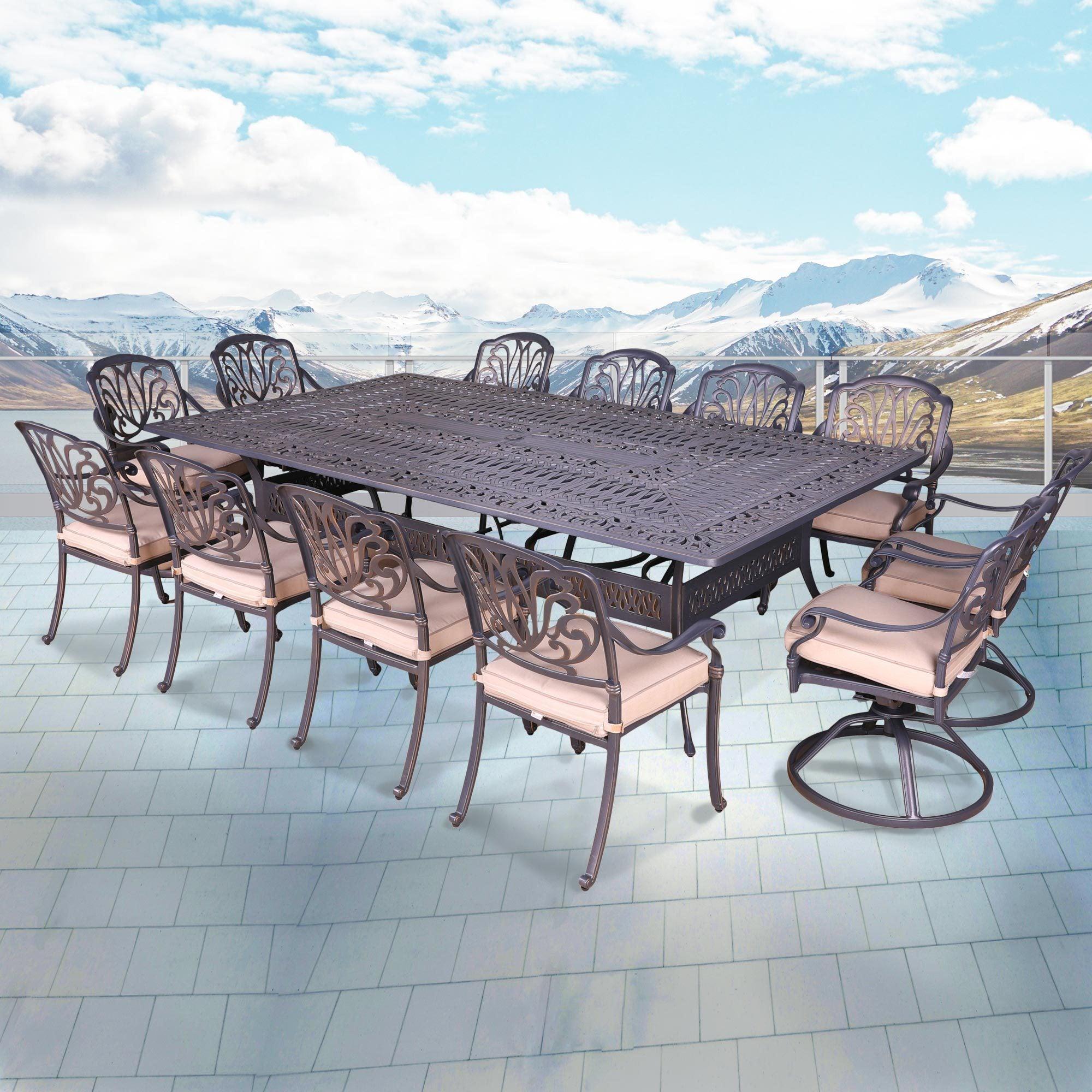 Saratoga 13pc Cushioned Dining Set, 60\'\' x 108\'\' Rectangle Table ...