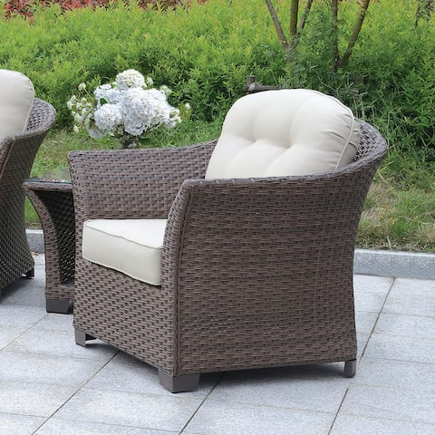 Furniture of America Wem Contemporary Wicker-like Outdoor Armchair