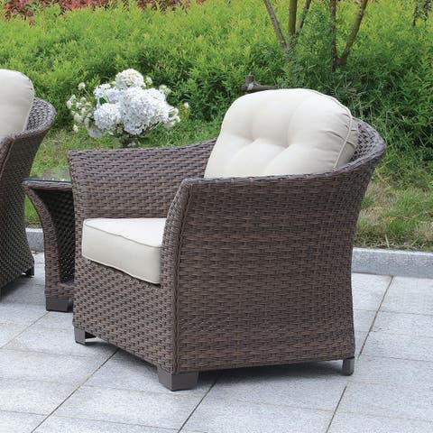 Furniture of America Gibbs Contemporary Outdoor Wicker Tufted Cushion Arm Chair
