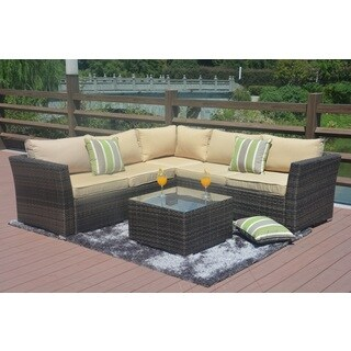 Direct Wicker Santa Rosa Wicker 4-Piece Outdoor Seating Sectional Set with Cushions