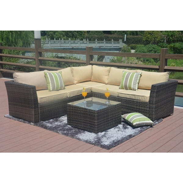 Direct Wicker Santa Rosa 4 Piece Outdoor Seating Sectional Set With Cushions