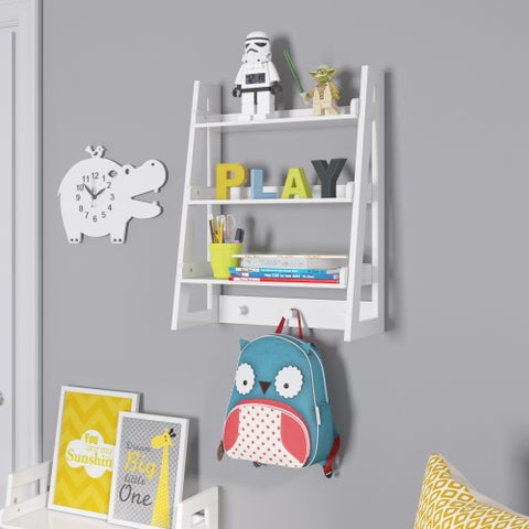RiverRidge Wall Shelf with Hooks for Kids - N/A