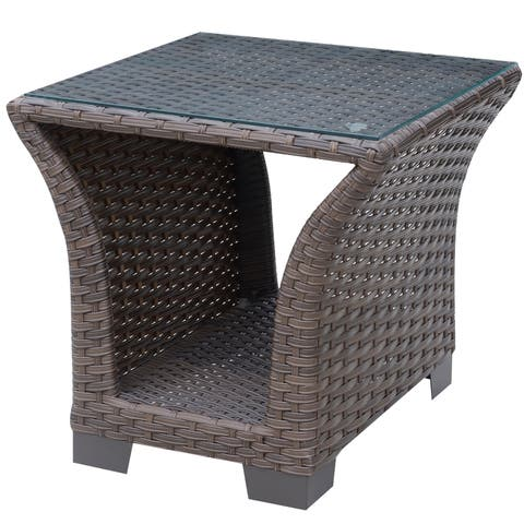 Furniture of America Gibbs Contemporary Wicker-like Glass Top End Table