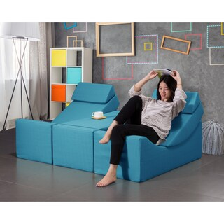 Chic Home Trypsin Accent Club Chair Faux Linen Upholstered Collapsible Adjustable Recliner Ottoman Bench (Option: Blue)