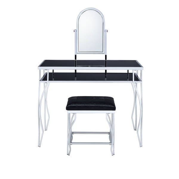 Tremendous Shop Acme Django Vanity And Stool In Chrome And Black Free Bralicious Painted Fabric Chair Ideas Braliciousco