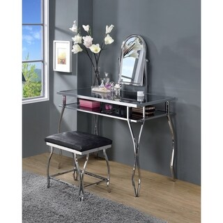 ACME Django Vanity and Stool in Chrome and Black