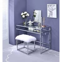 ACME Josh Vanity and Stool in White and Chrome