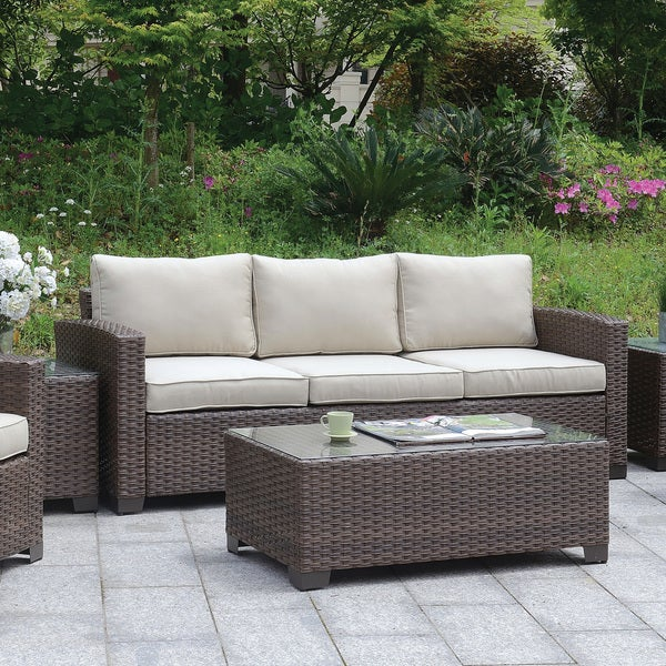 Havenside Home Fleeton Square Glass Top Outdoor Coffee Table