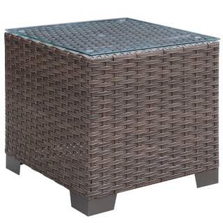 Havenside Home Fleeton Glass Top Outdoor End Table