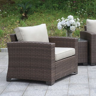 Furniture of America Bryon Aluminum Contemporary Wicker-like Arm Chair