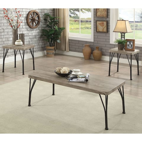 Furniture of America Zath Industrial Metal 3-piece Accent Table Set