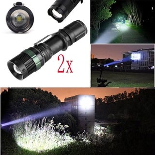 2Pcs Tactical 10000Lumen Zoomable LED Flashlight Torch Camping Light