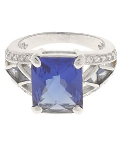 Icz Stonez Sterling Silver Blue and White CZ Ring