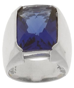 Icz Stonez Sterling Silver Blue CZ Solitaire Ring