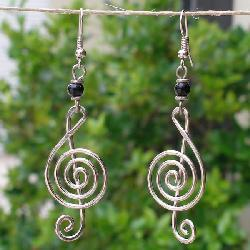 Electroplated Copper 'Musical' Earrings (Kenya) - Thumbnail 1