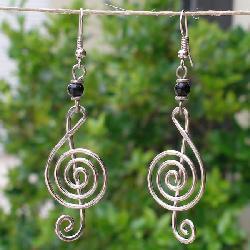 Electroplated Copper 'Musical' Earrings (Kenya) - Thumbnail 2