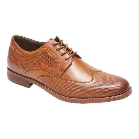 Men's Rockport Style Purpose Perf Wing Tip Oxford Cognac Leather