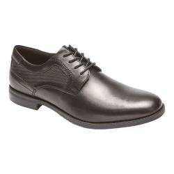 Men's Rockport Style Purpose Perf Plain Toe Oxford Black Full Grain Leather