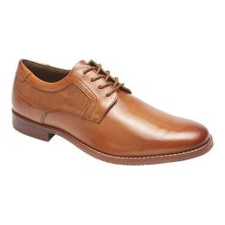 Men's Rockport Style Purpose Perf Plain Toe Oxford Cognac Full Grain Leather