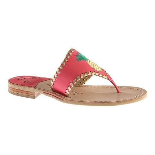 c6fe110f970e Shop Women s Jack Rogers Pineapple Thong Sandal Bright Pink Gold Leather -  Free Shipping Today - Overstock - 16716163