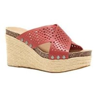 Women's Lucky Brand Neeka Slide Wedge Sandal Rosewood Perforated Leather