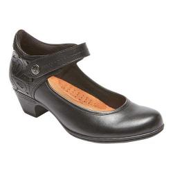 Women's Rockport Cobb Hill Abbott Ankle Strap Mary Jane Black Full Grain Leather