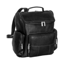 David King Leather 334 Multi Pocket Backpack Black