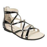 Women's Rialto Maisie Strappy Flat Sandal Black Patent