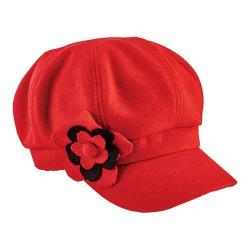 Women's San Diego Hat Company Newsboy Cap with Flower Trim CTH8064 Red