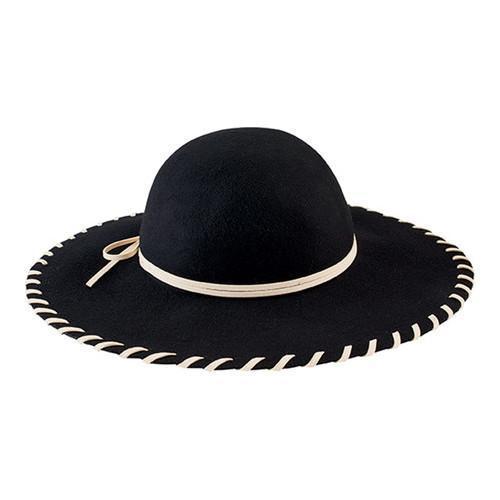 ffbf37570 Women's San Diego Hat Company Wool Floppy Hat with Whip Stitch Brim WFH3548  Black