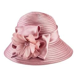 Women's San Diego Hat Company Satin Cloche with Flower Trim DRS3554 Pink