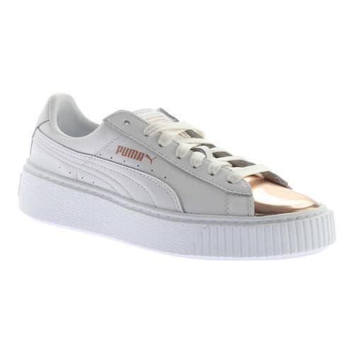 Women's PUMA Basket Platform Metallic Sneaker Puma White/Rose Gold