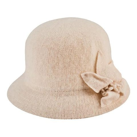4aa0263cece2a Women s San Diego Hat Company Knit Cloche Bucket Hat with Side Bow CTH8091  White