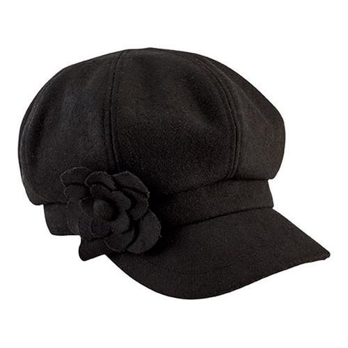 Women's San Diego Hat Company Newsboy Cap with Flower Trim CTH8064 Black - Thumbnail 0