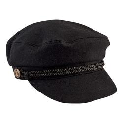 Women's San Diego Hat Company Cabbie Newsboy Cap with Braid Trim/Buckle CTH8083 Black