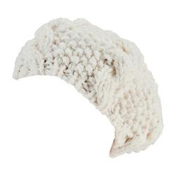 Women's San Diego Hat Company Crochet Knit Cable Beret KNH3473 Ivory