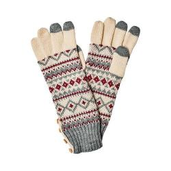 Women's San Diego Hat Company Fair Isle Glove with Button KNG3464 Grey