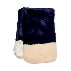 Women's San Diego Hat Company Faux Fur Color Block Scarf BSS3534 Navy