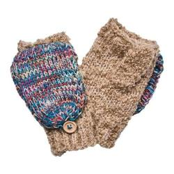 Women's San Diego Hat Company Fingerless Glove with Contrast Mitten Top KNG3466 Tan