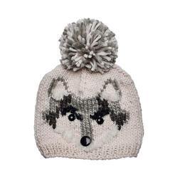 Children's San Diego Hat Company Fox Knit Cap with Pom Pom KNK3504 Ivory