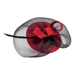 Women's San Diego Hat Company Jaquard Fascinator with Sinamay Veil/Bow DRS3557 Red