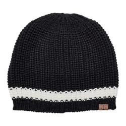 Women's San Diego Hat Company Knit Beanie with Contrast Stripe/Anchor KNH3475 Black