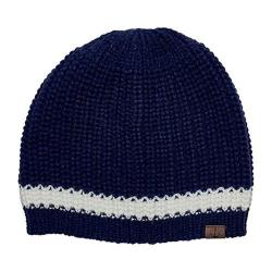 Women's San Diego Hat Company Knit Beanie with Contrast Stripe/Anchor KNH3475 Navy