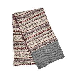 Women's San Diego Hat Company Knit Fair Isle Scarf BSS3464 Grey - Thumbnail 0