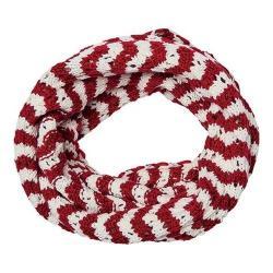 Women's San Diego Hat Company Knit Open Weave Stripe Infinity Scarf BSS3481 Red
