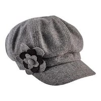 Women's San Diego Hat Company Newsboy Cap with Flower Trim CTH8064 Grey